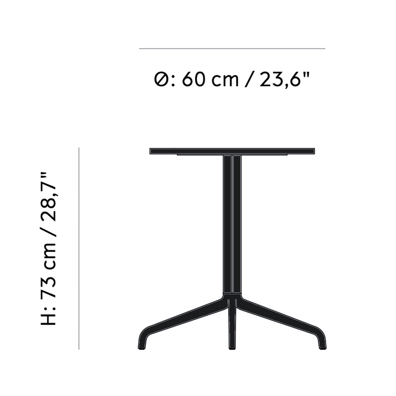 Menu Harbour Column Dining Table Star Base Dia60cm , Black Steel-Black Oak