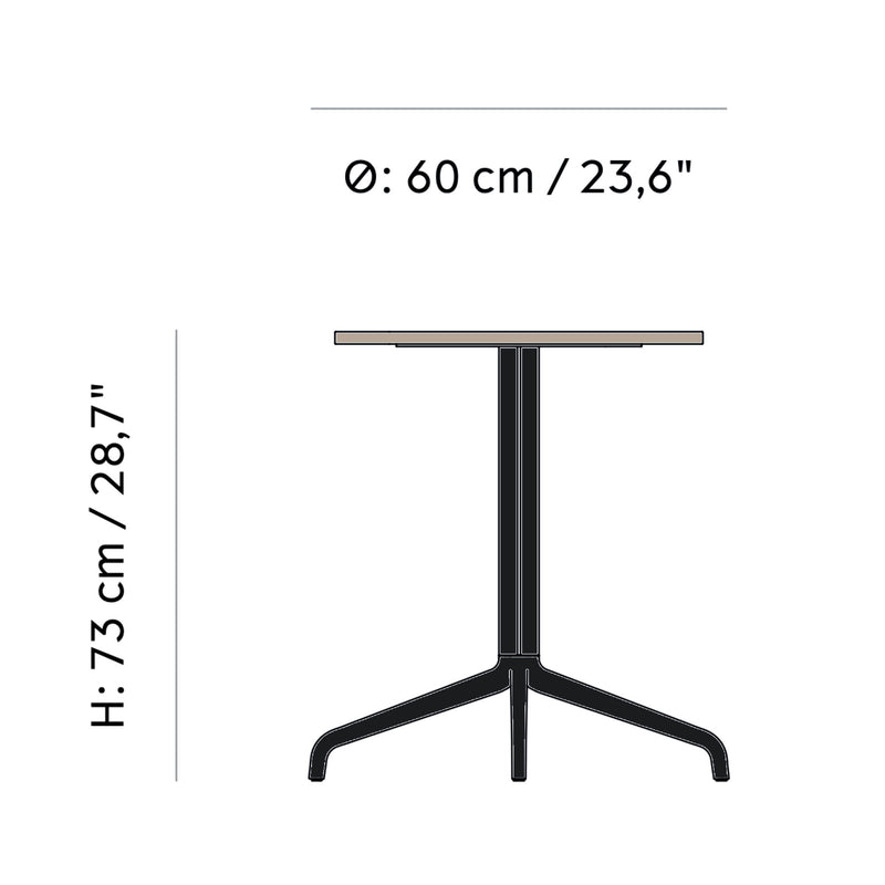 Menu Harbour Column Dining Table Star Base Dia60cm , Black Steel-Kunis Breccia Stone