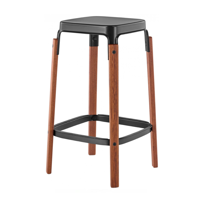 Magis Steelwood Bar Stool Walnut Black . 68cm