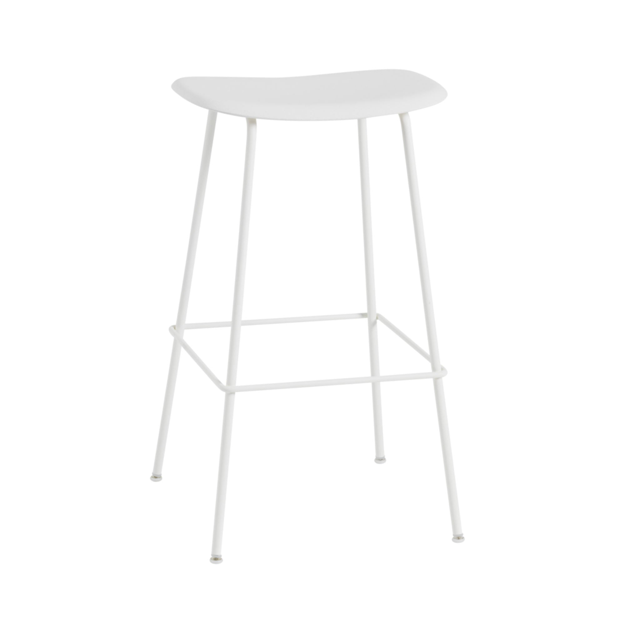 Muuto Fiber Bar Stool / Tube Base , Natural White/White