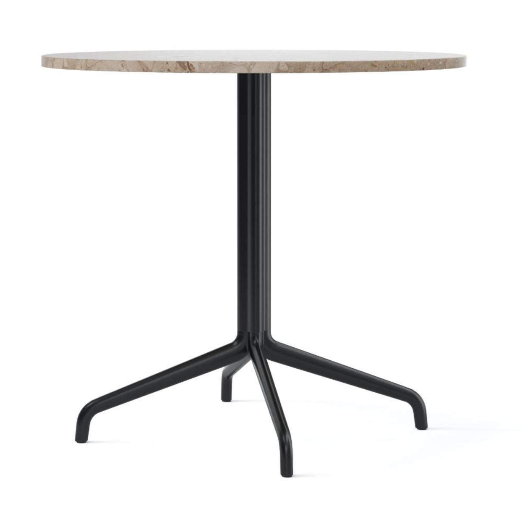 Menu Harbour Column Dining Table Star Base Dia80cm , Black Steel-Kunis Breccia Stone