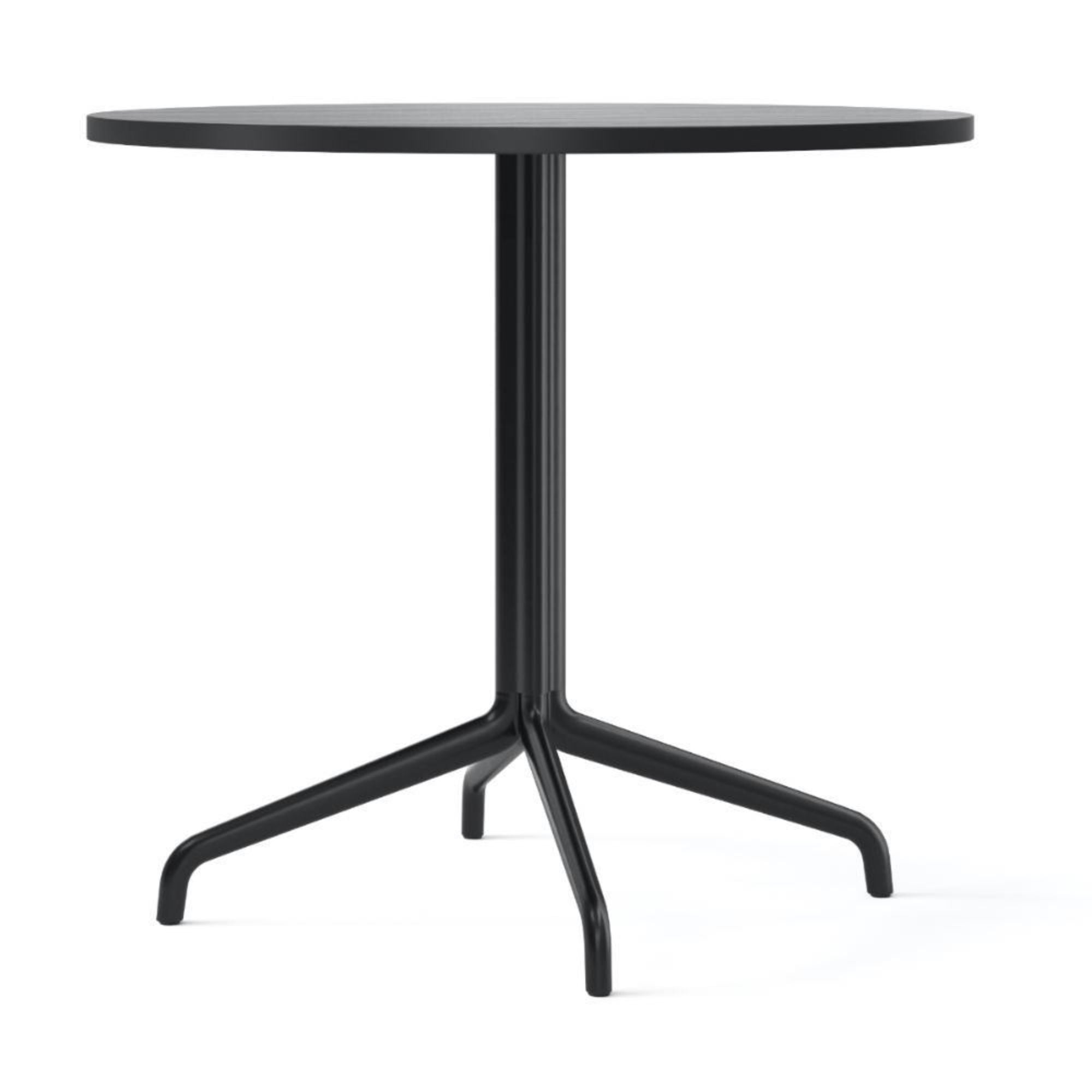 Menu Harbour Column Dining Table Star Base Dia80cm , Black Steel-Black Oak