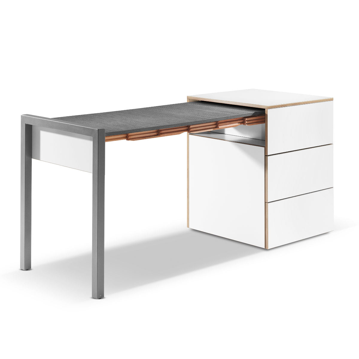 Alwin's Space Box Extendable Table Drawers , White/Orefo Dark