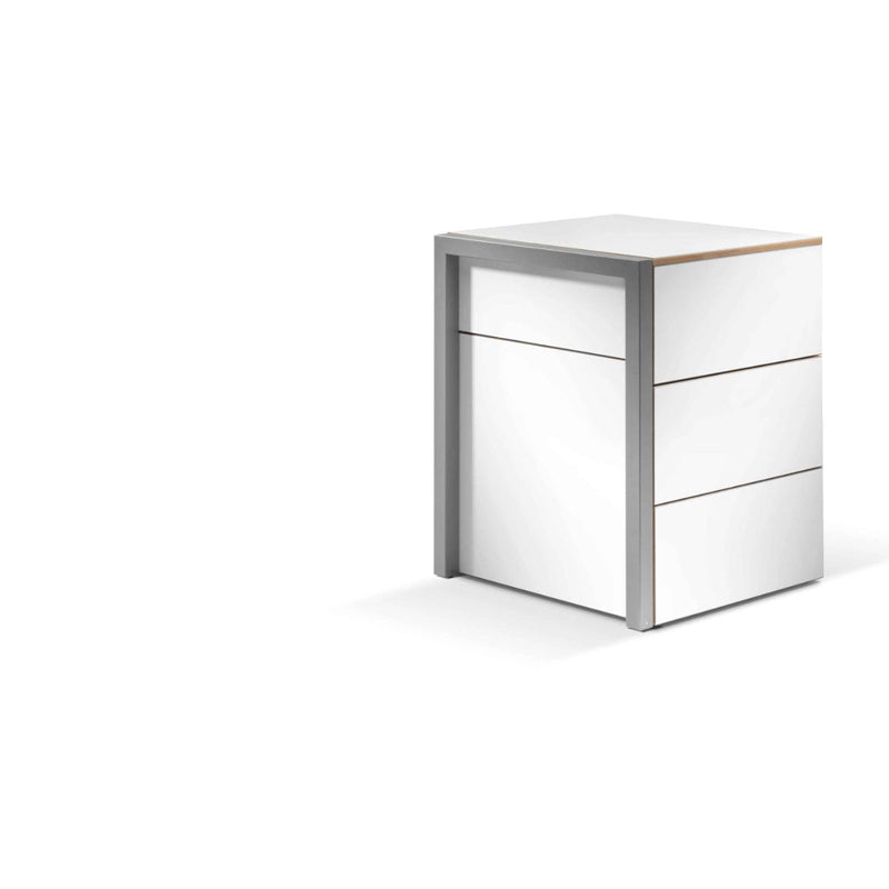 Alwin's Space Box Extendable Table Drawers , White-Orefo Dark