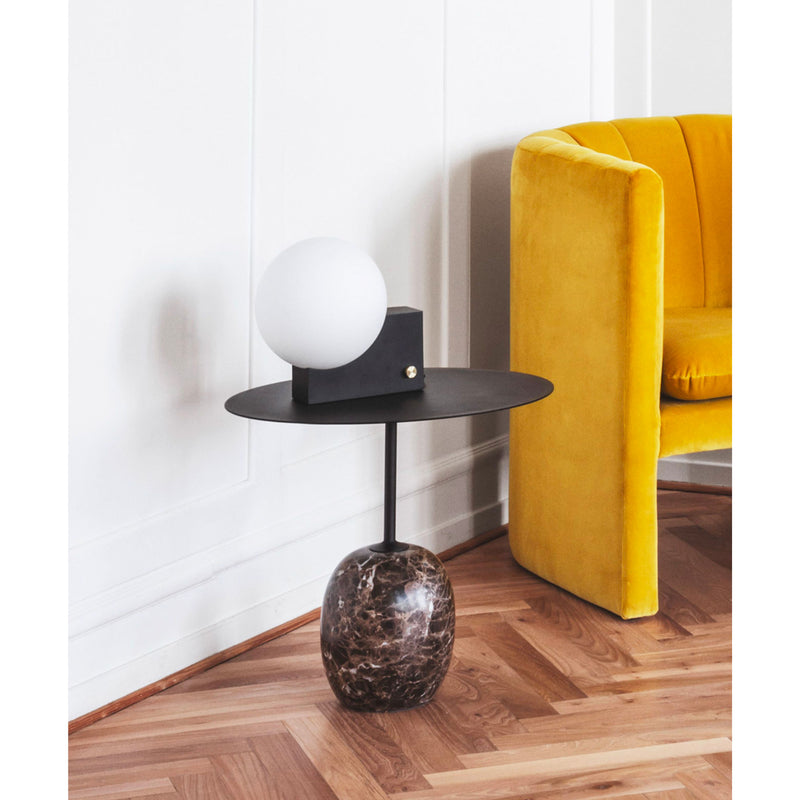 &Tradition Lato LN9 oval side table, warm black - emparador marble