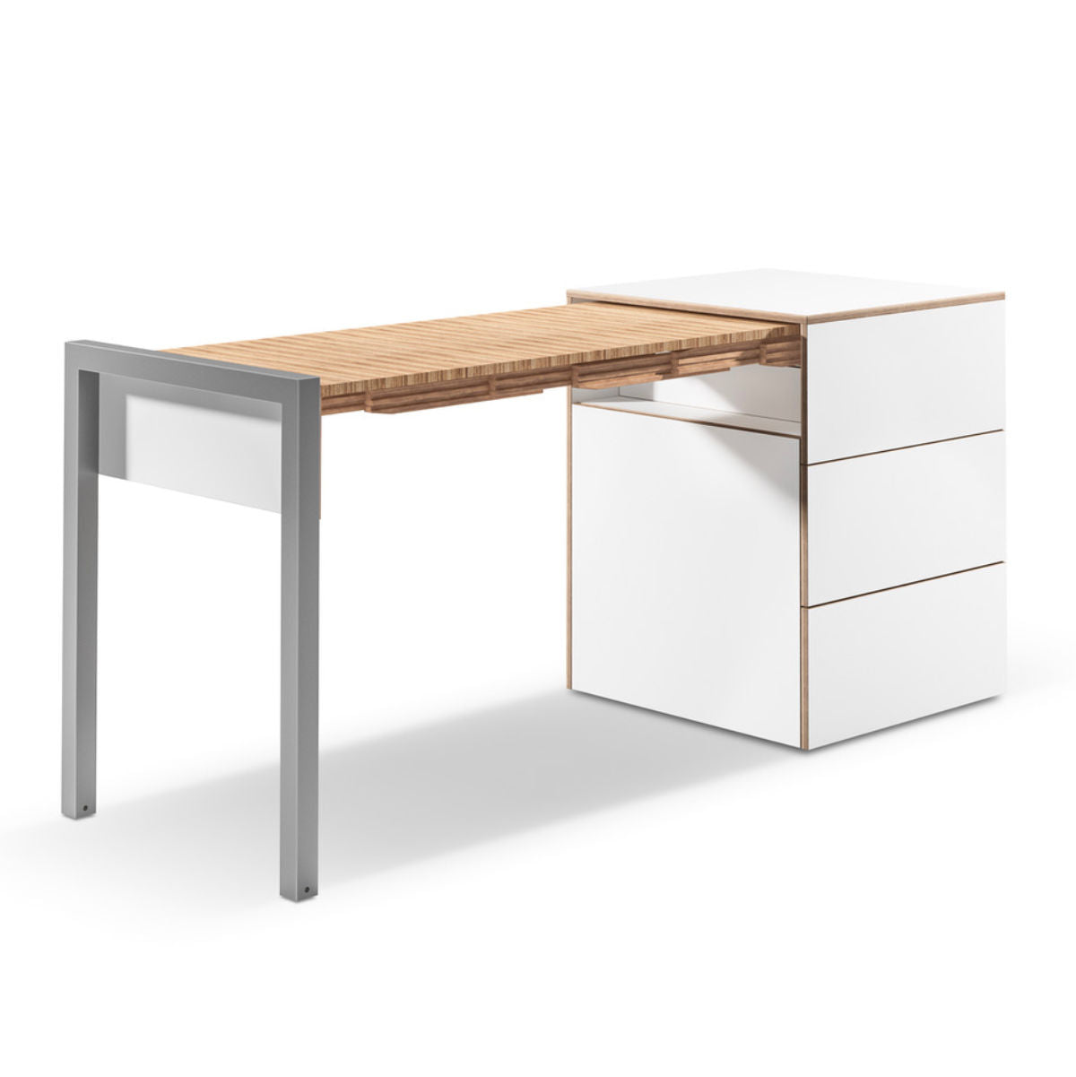 Alwin's Space Box Extendable Table Drawers , White/Beech Laminated Veneer