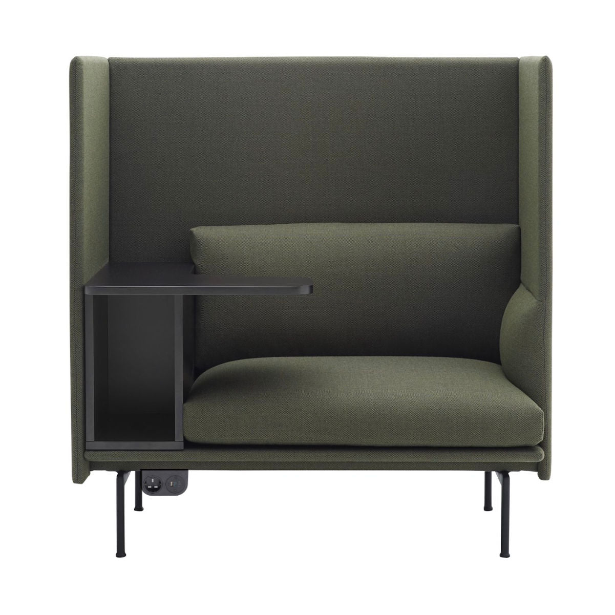 Muuto Outline Sofa Highback Black Base Left