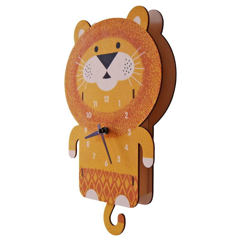 Modern Moose Lion Wooden Pendulum Clock