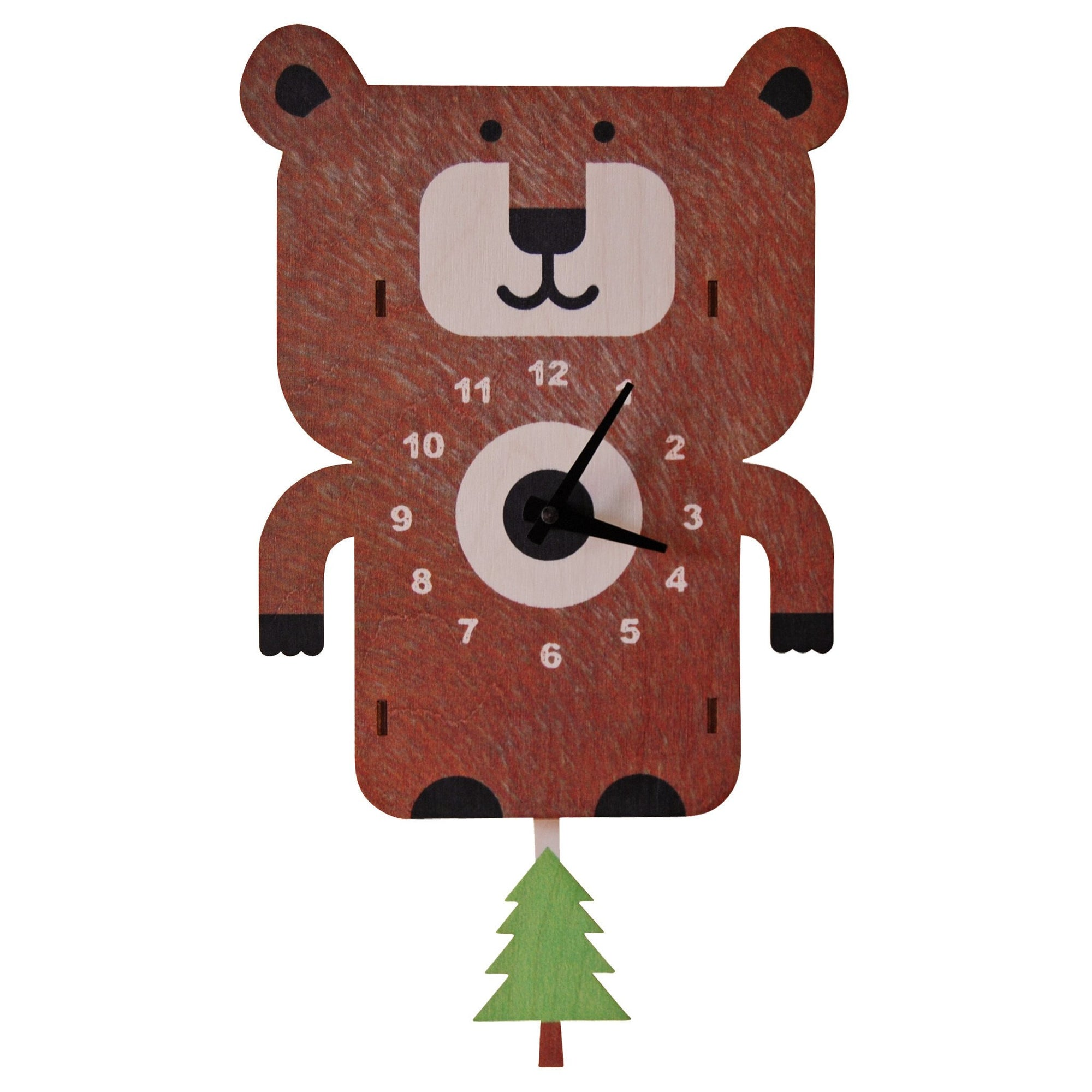 Modern Moose Bear Wooden Pendulum Clock