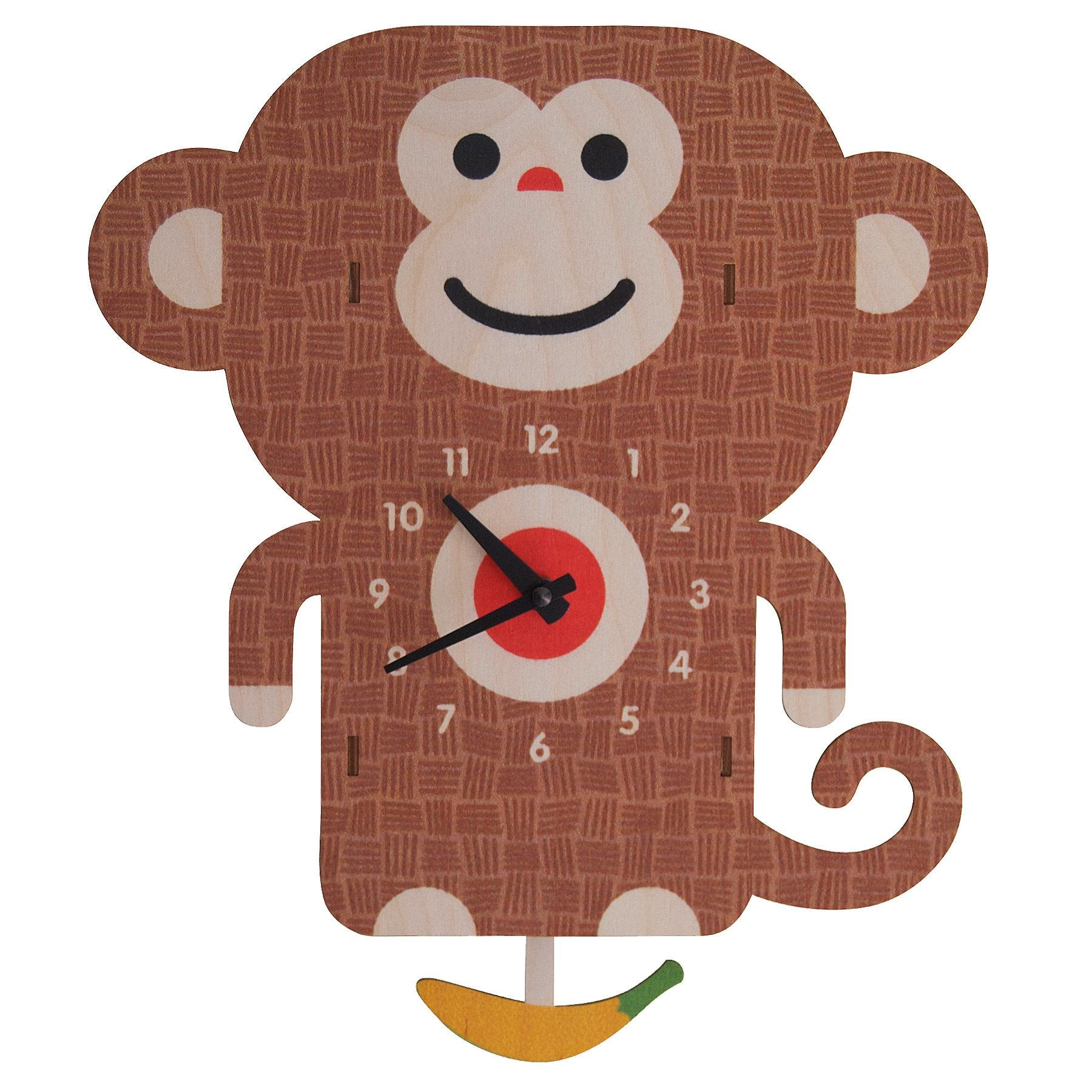 Modern Moose Monkey Wooden Pendulum Clock