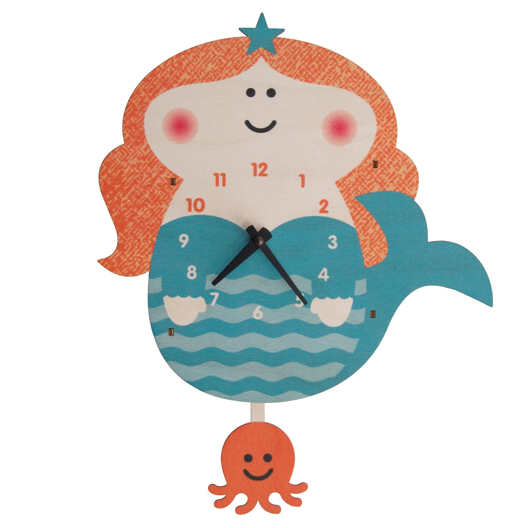 Modern Moose Mermaid Wooden Pendulum Clock