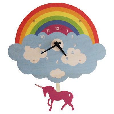Modern Moose Unicorn Wooden Pendulum Clock