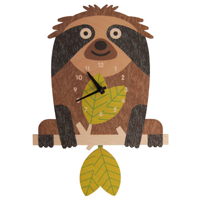 Modern Moose Tree Sloth Wooden Pendulum Clock