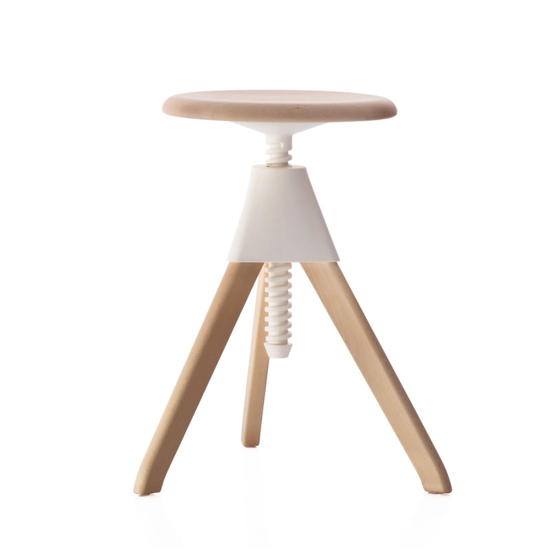 Magis Jerry Adjustable Stool , Natural 7011/White (55-65 cm)