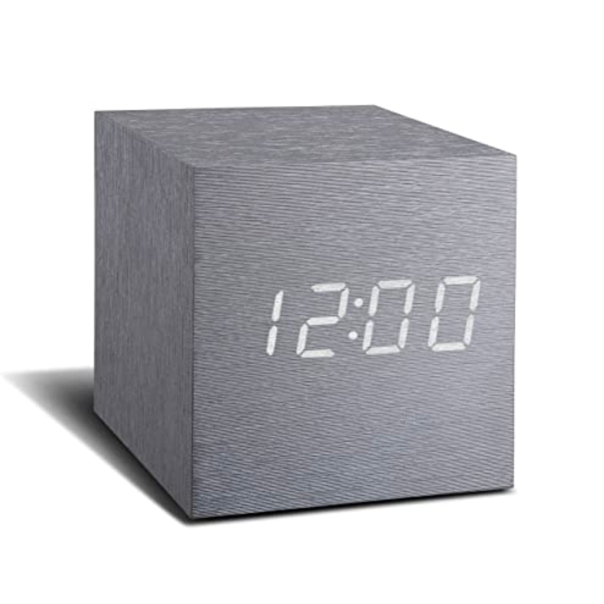 Gingko Cube Click Clock , Aluminium-White LED