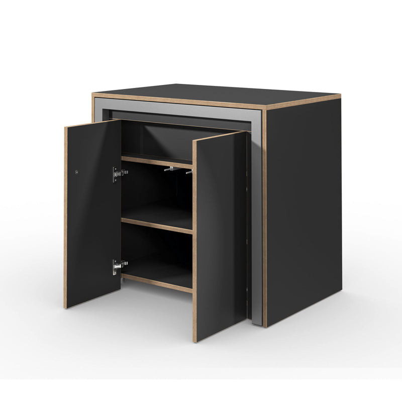 Alwin's Room&Board Extendable Table Sideboard , Super Matte Black-Beech Laminated Veneer