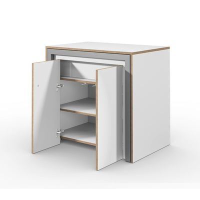 Alwin's Room&Board Extendable Table Sideboard , White-Beech Laminated Veneer