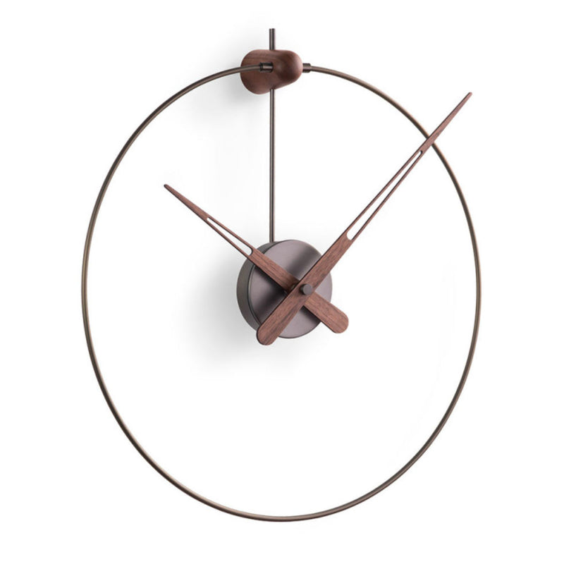 Nomon Micro Anda wall clock, graphite, walnut hands