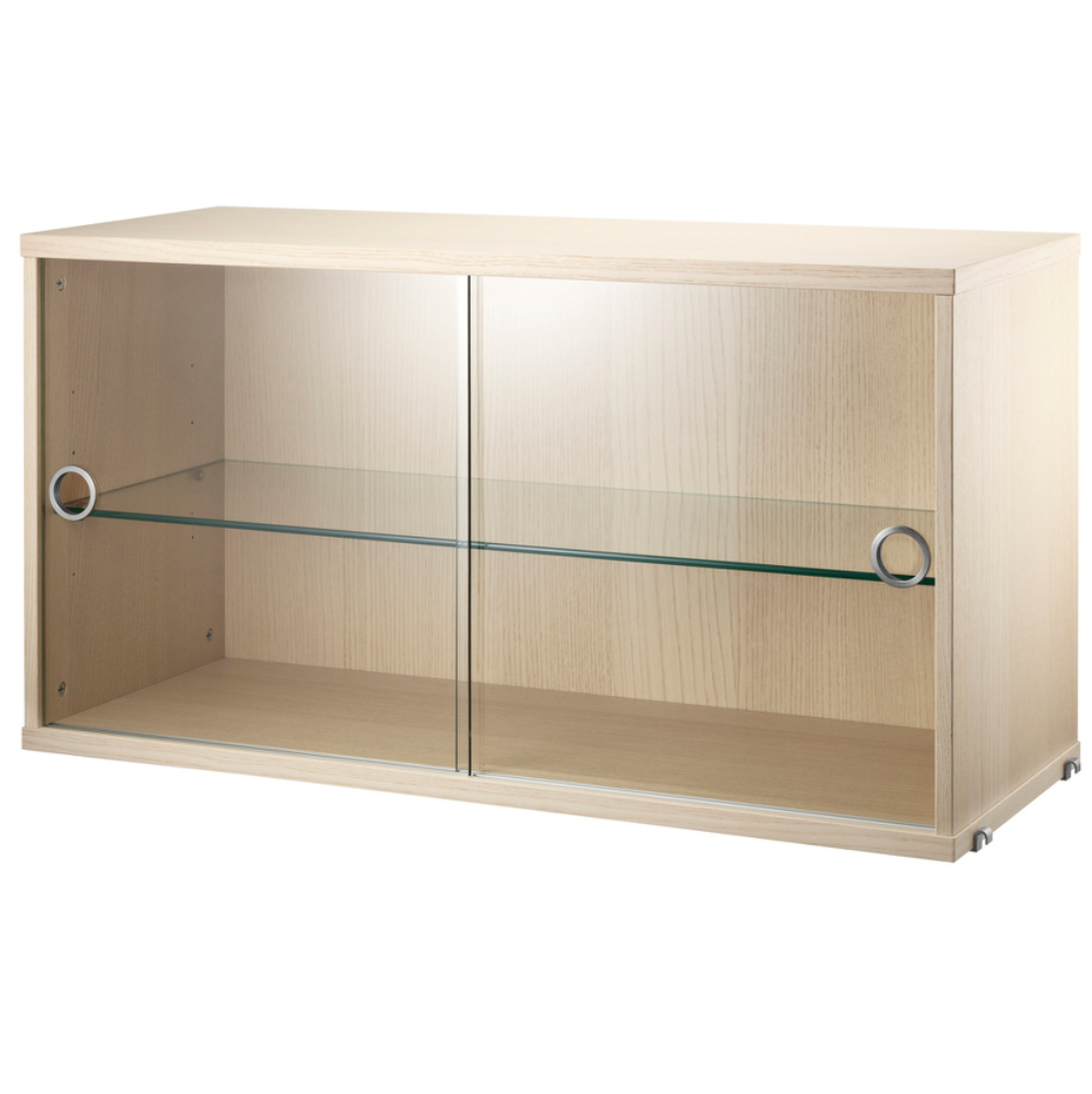 String Display Cabinet with Sliding Glass Doors W78xD30cm