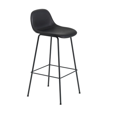 Muuto Fiber Bar Stool / Tube Base - With Back Rest , Refine Leather Black/Black (75 cm)