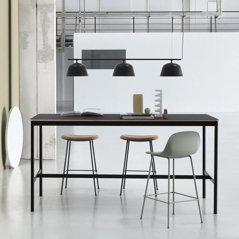 Muuto Base High Table 190x85 h:95cm , Black Linoleum/Plywood/Black