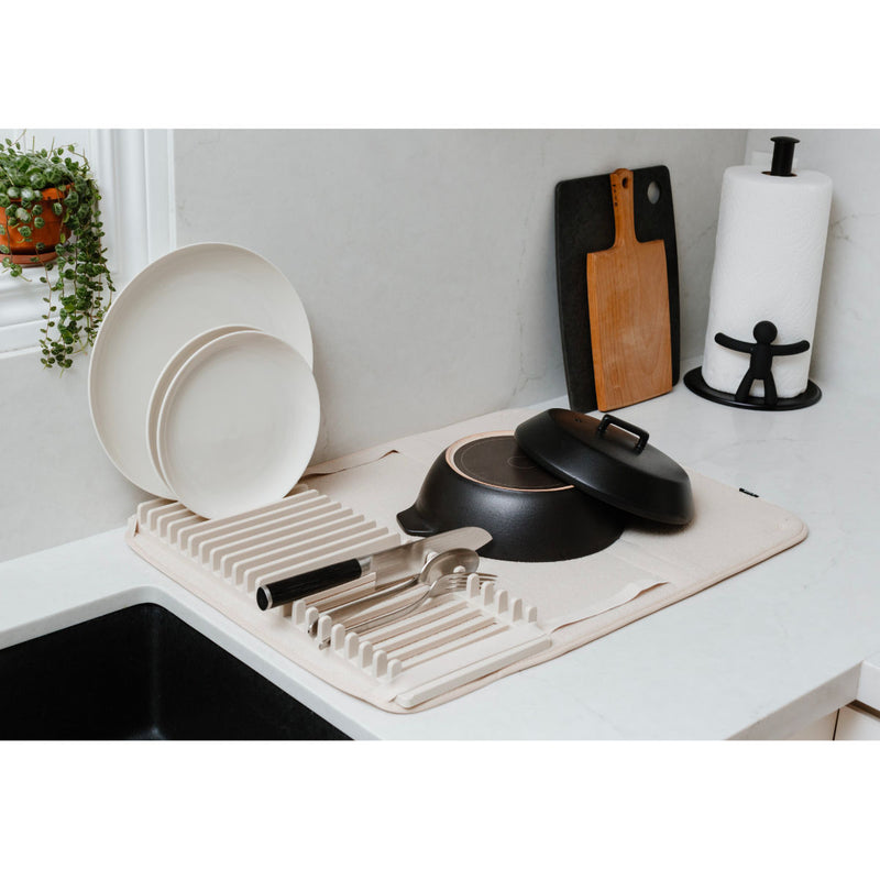 Umbra Udry dishrack with dry mat, large, linen