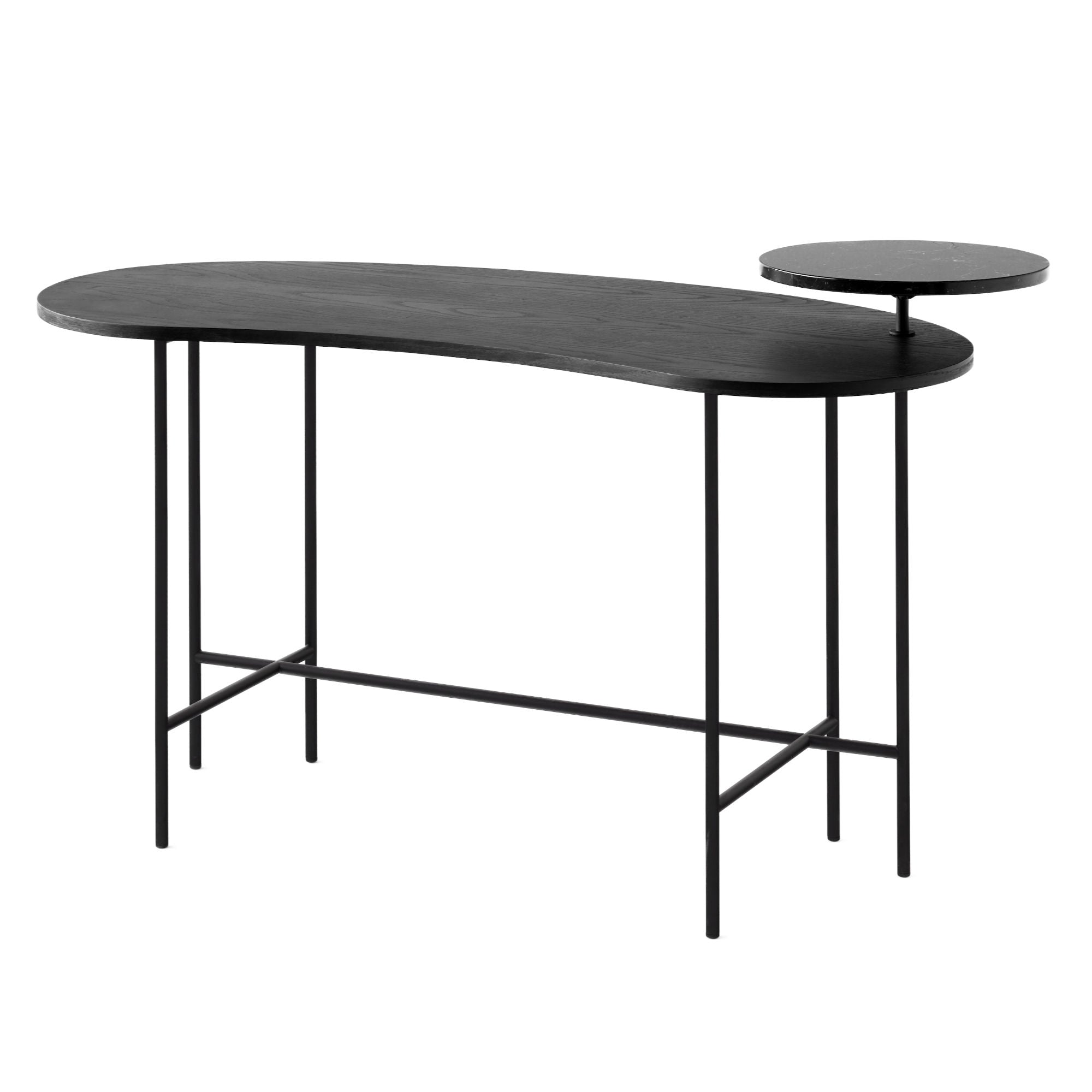 &Tradition JH9 Palette Desk , Nero Marquina Marble-Black Lacquered Ash Veneer
