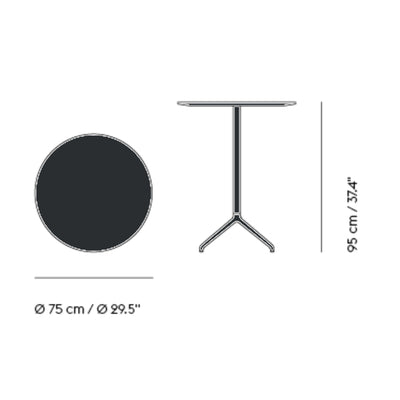 Muuto Still Cafe Table Ø75 h:95cm , Black Nanolaminate/Black