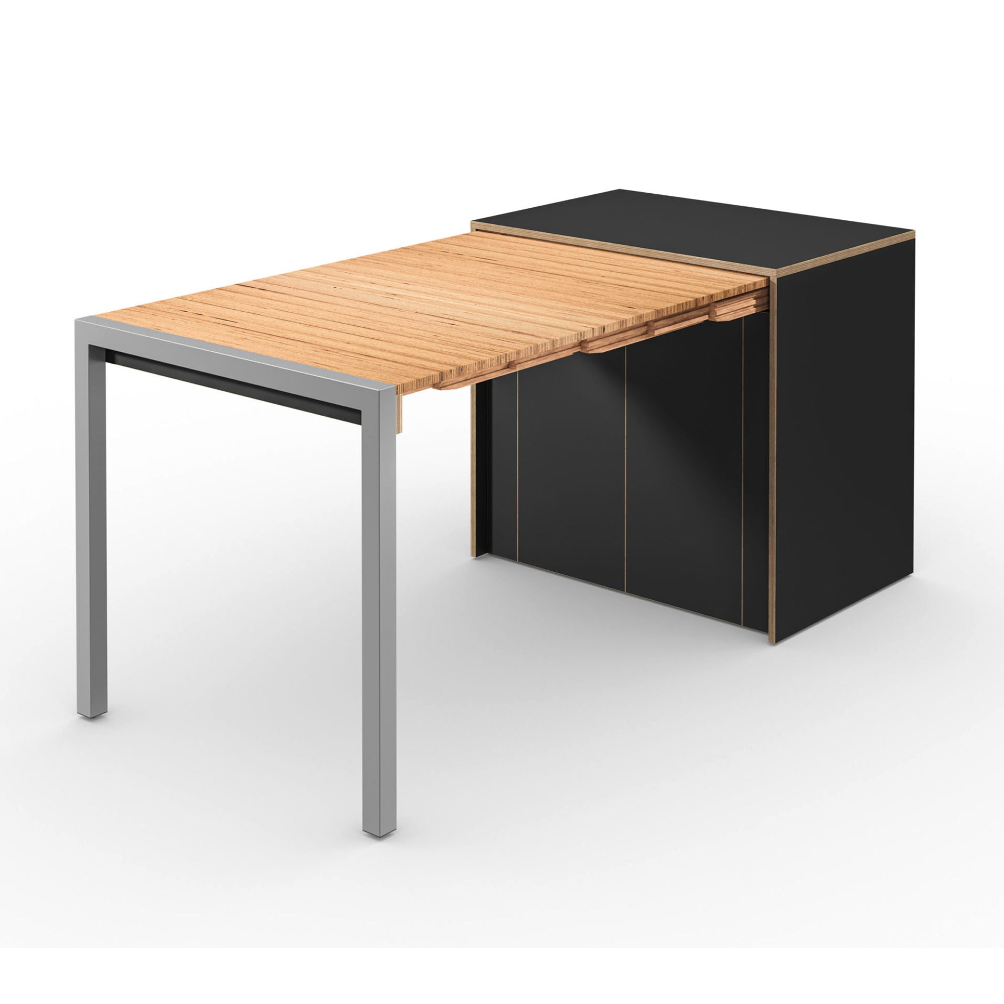 Alwin's Room&Board Extendable Table Sideboard , Super Matte Black/Beech Laminated Veneer