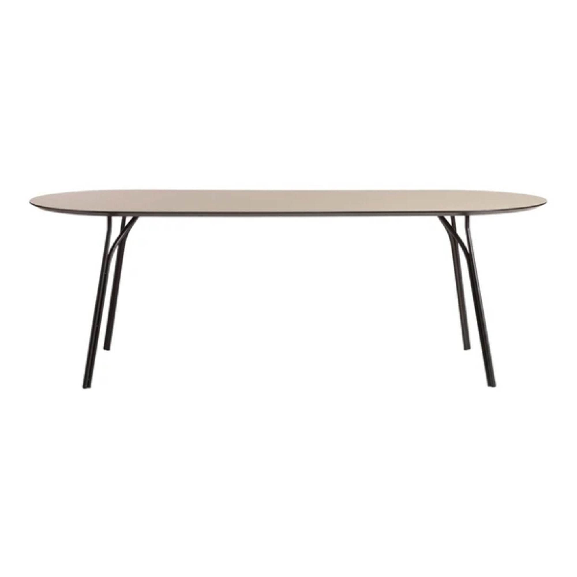Woud Tree Dining Table 90x220cm , Beige Top-Black Legs