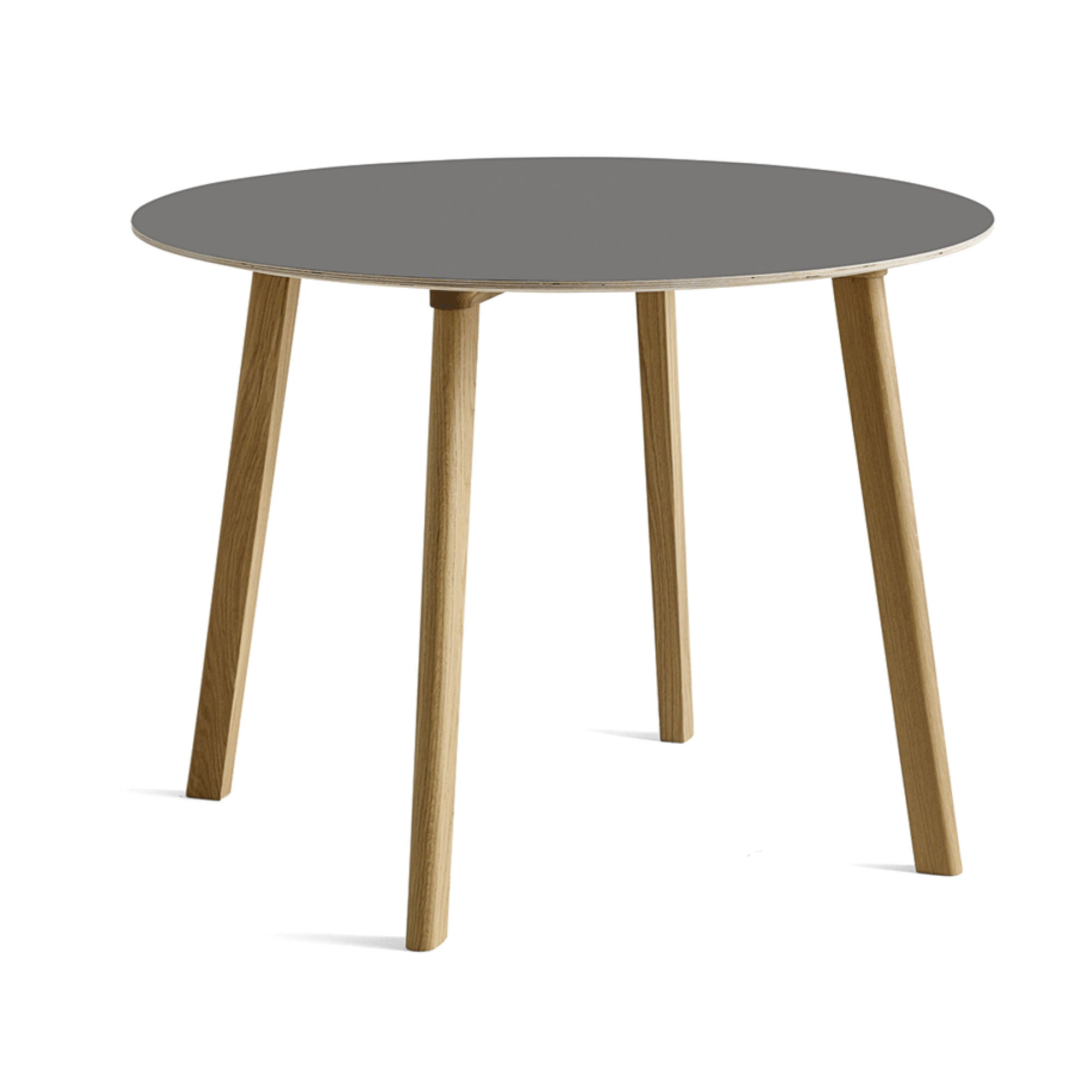 HAY CPH Deux 220 Round Table Dia98cm , Beige Grey Laminate-Matt Lacquered Solid Oak