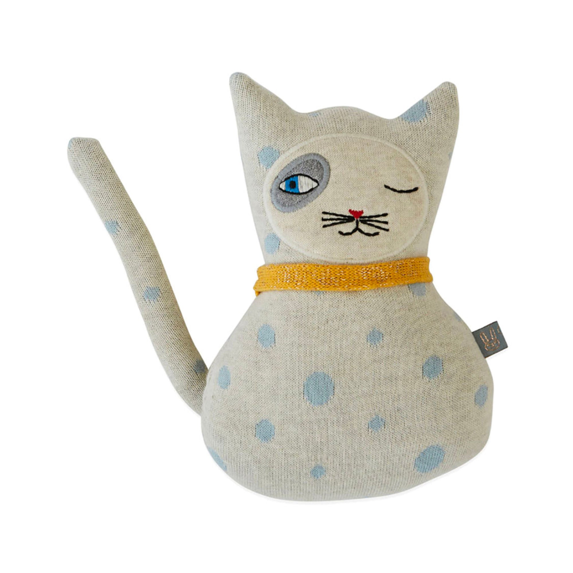 OYOY Baby Benny Cat darling cushion , off white-pale blue