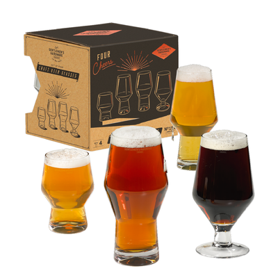Wild and Wolf Craft Beer Glasses Set of 4