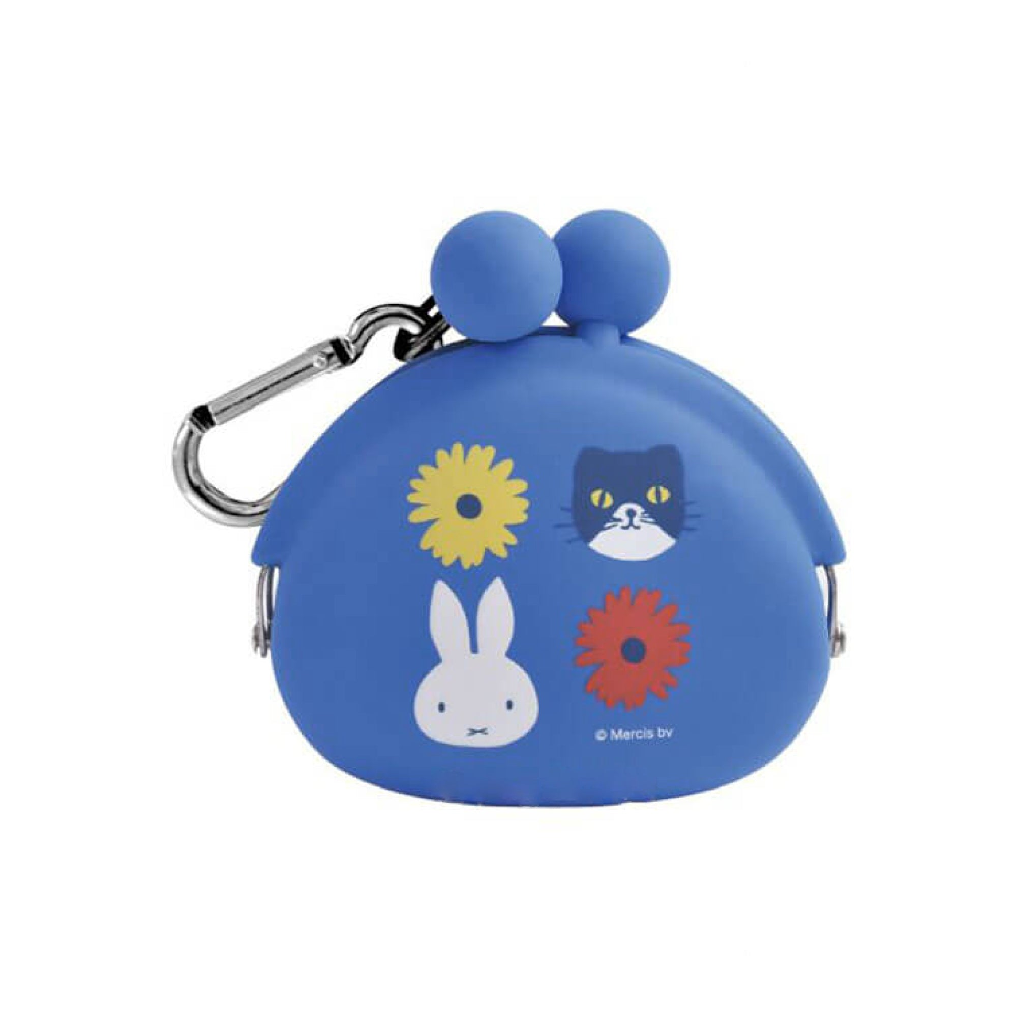 Pochibi silicon coin pouch, Miffy & cat blue