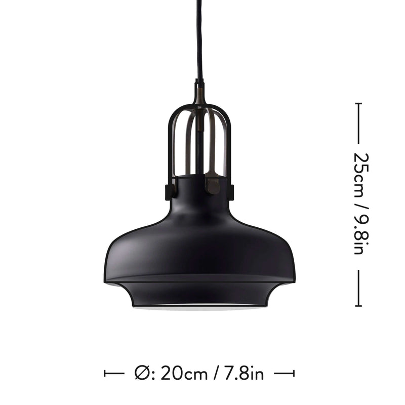 &Tradition SC6 Copenhagen pendant light, matt black - bronzed brass suspension