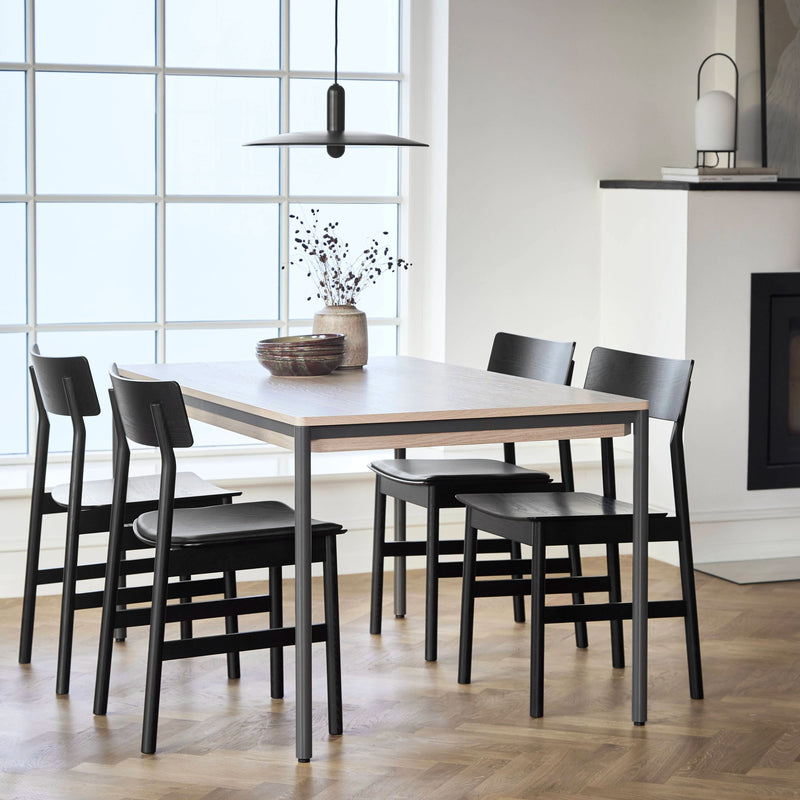 Woud Pause Dining Chair , Black Painted Ash-Black Leather Seat