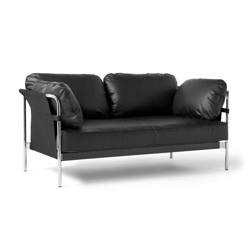 HAY Can 2-Seater Sofa 2.0, chrome - black - silk0842
