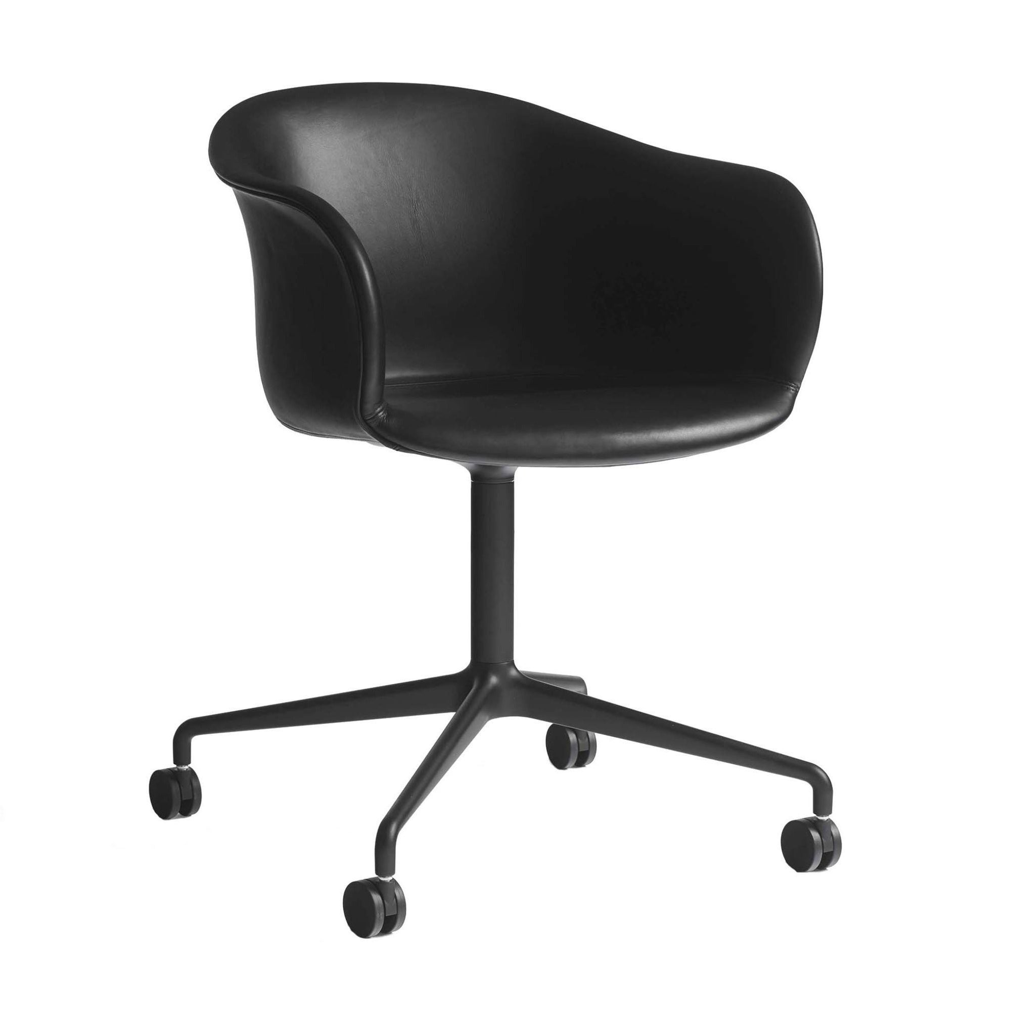 &Tradition Elefy JH37 chair, swivel base, silk black leather, black base