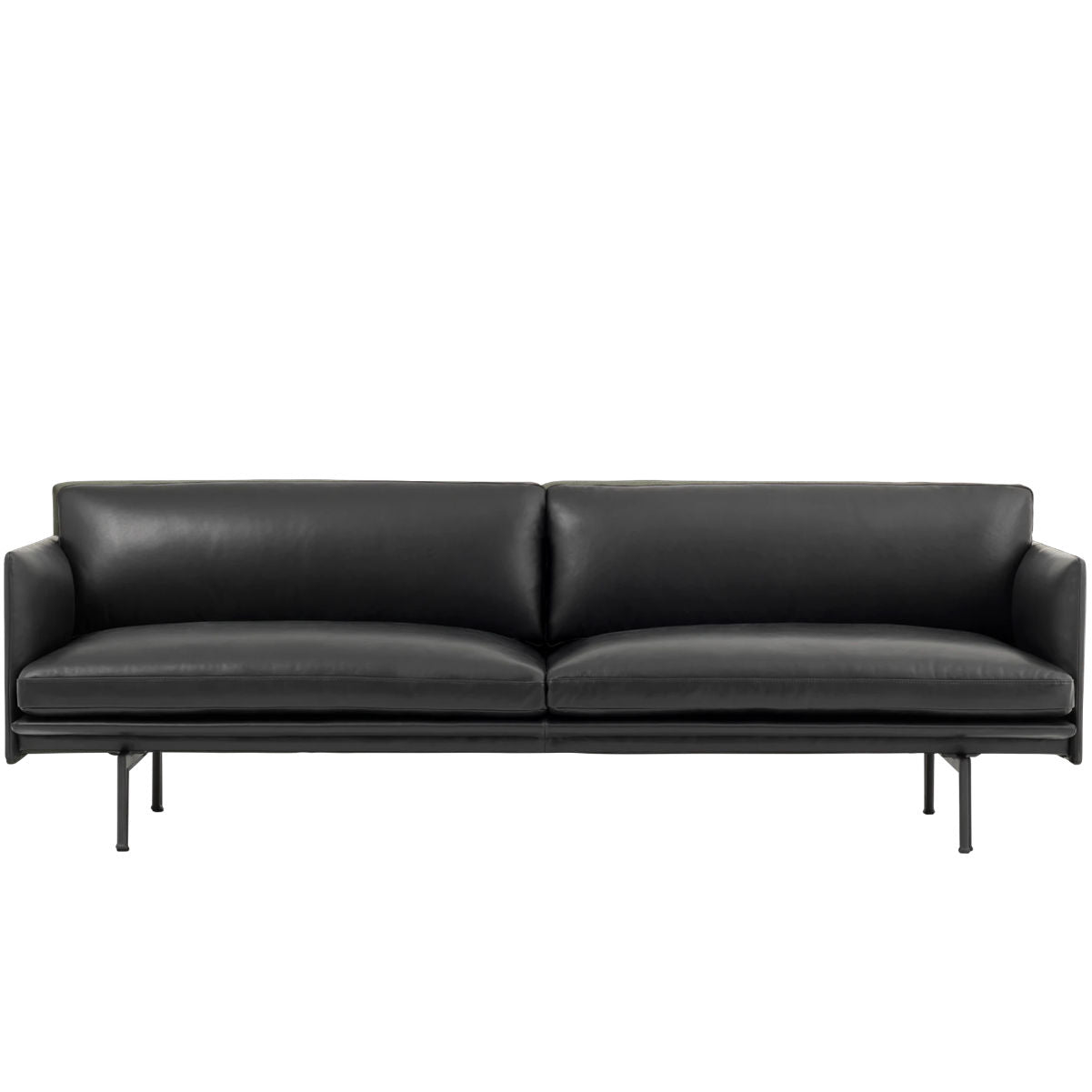 Muuto Outline sofa, 3-seater, refine leather black, black steel leg