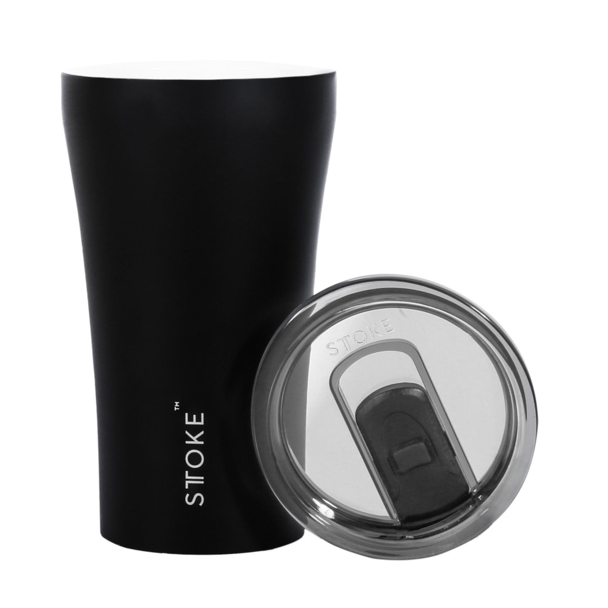 Sttoke Ceramic Reusable Cup 340ml , Black