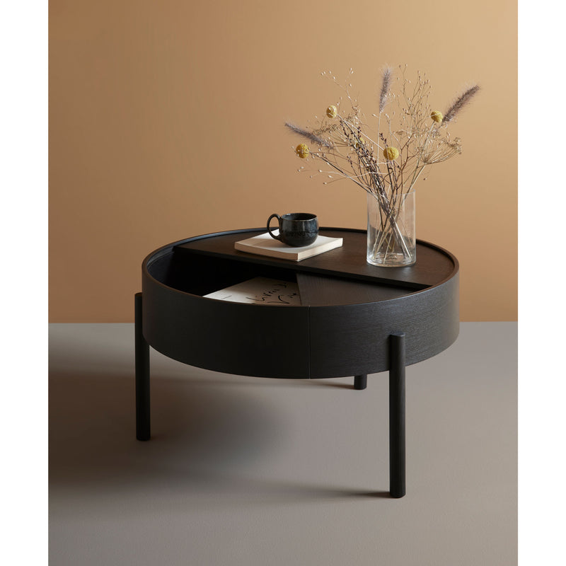 Woud Arc Coffee Table , Black Painted Ash