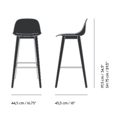 Muuto Fiber Bar Stool / Wood Base - With Backrest , Black/Black (75 cm)