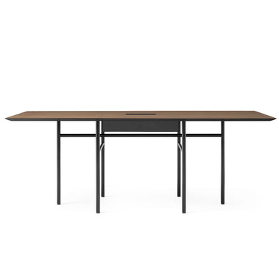 Menu Snaregade Conference Table w. Cable Tray , Black Steel/Dark Stained Oak