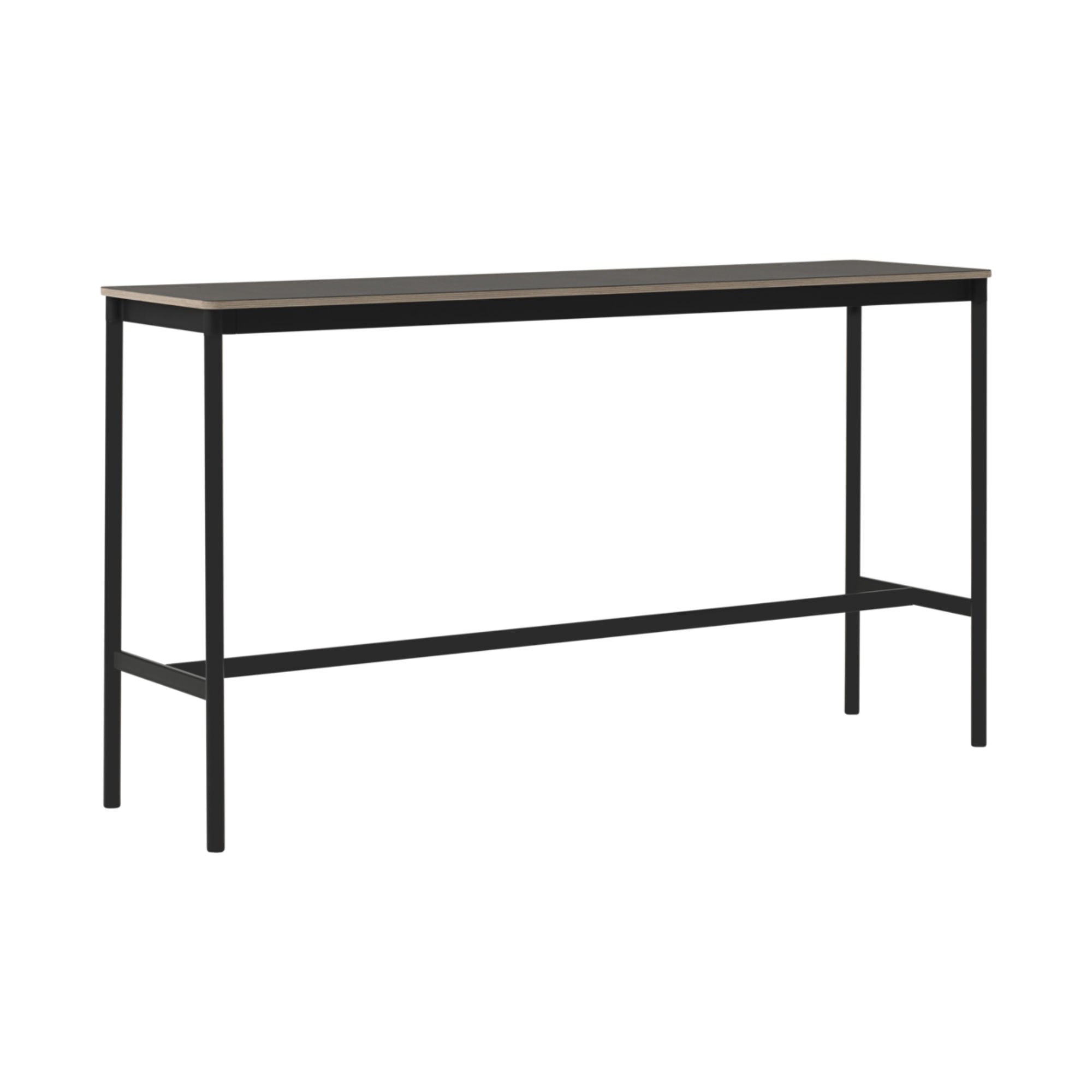 Muuto Base High Table 190x50 h:105cm , Black Linoleum/Plywood/Black