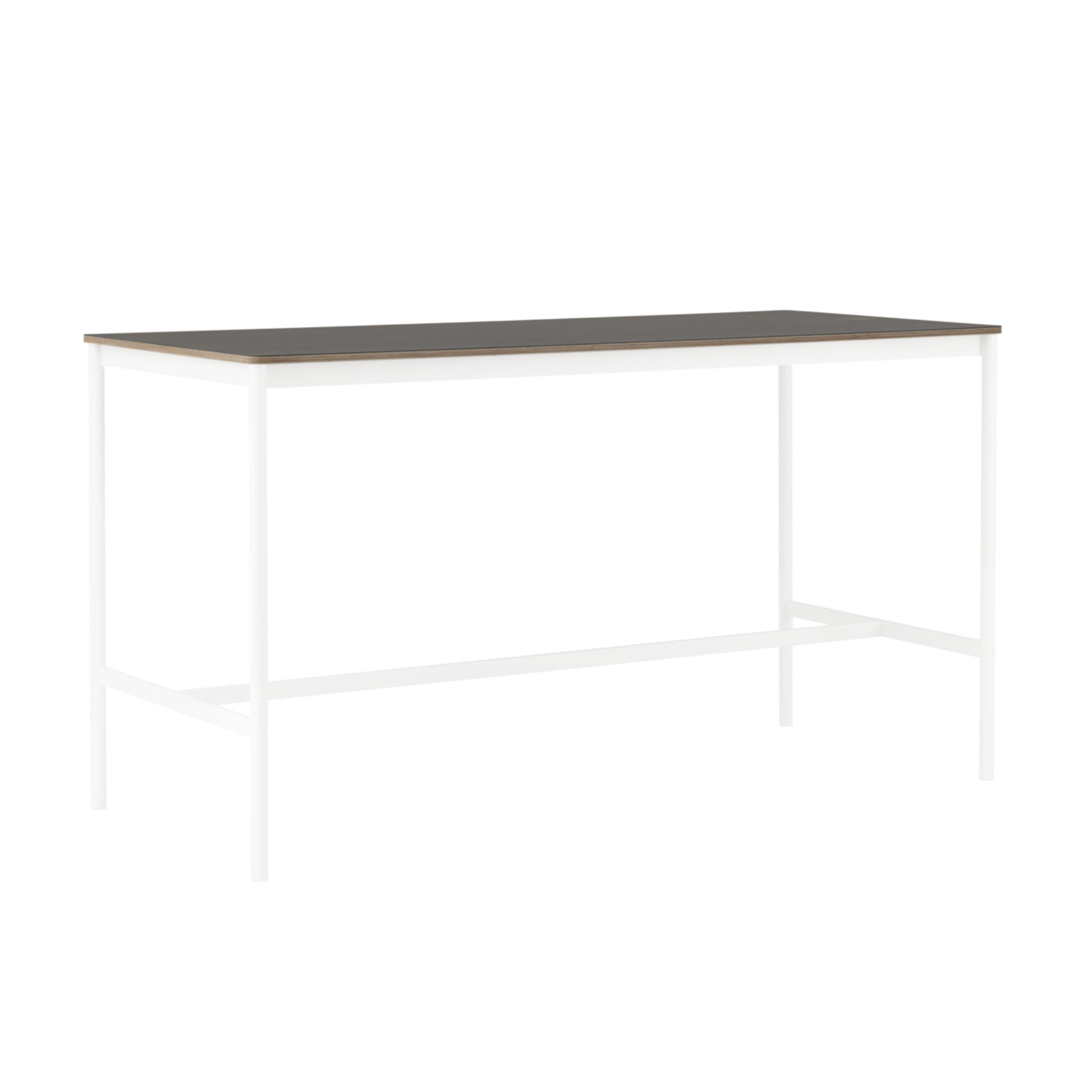 Muuto Base High Table 190x85 h:105cm , Black Linoleum/Plywood/White