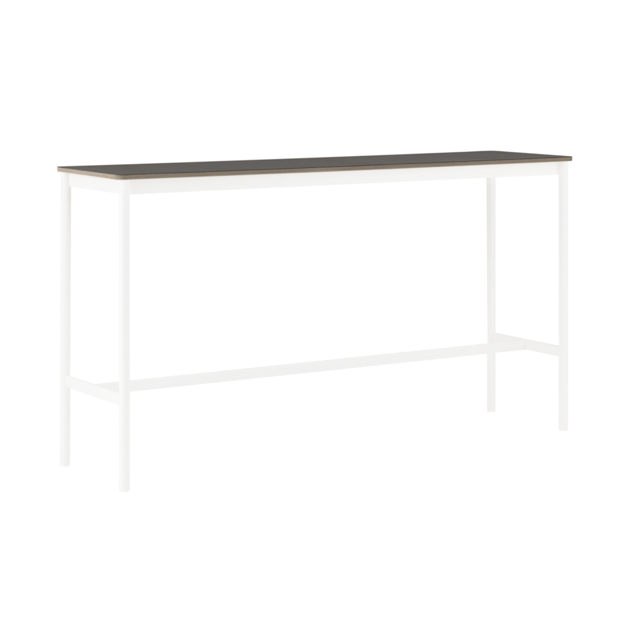 Muuto Base High Table 190x50 h:105cm , Black Linoleum/Plywood/White