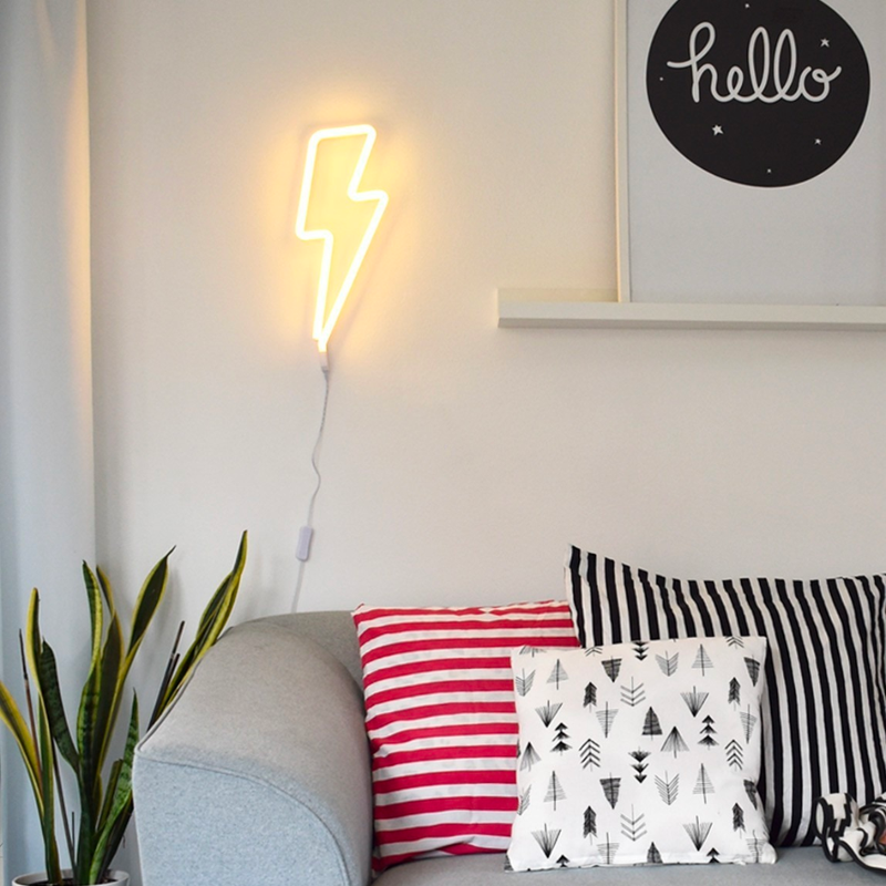A Lovely Little Company Neon Style LED Light . Yellow Bolt