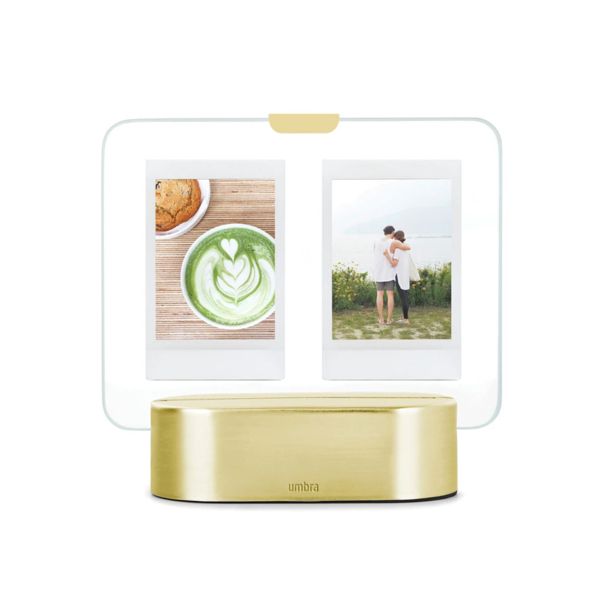 Umbra Glo Instant LED photo display, brass