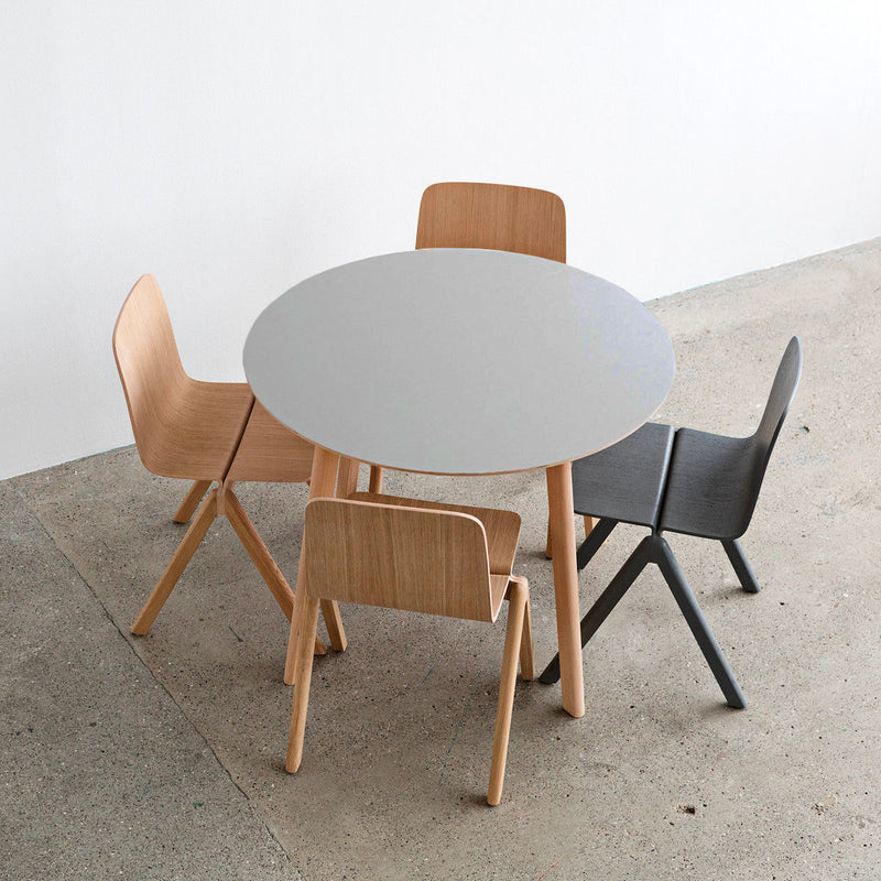 CPH DEUX220 table, dusty grey laminate top - matt lacquered solid oak legs