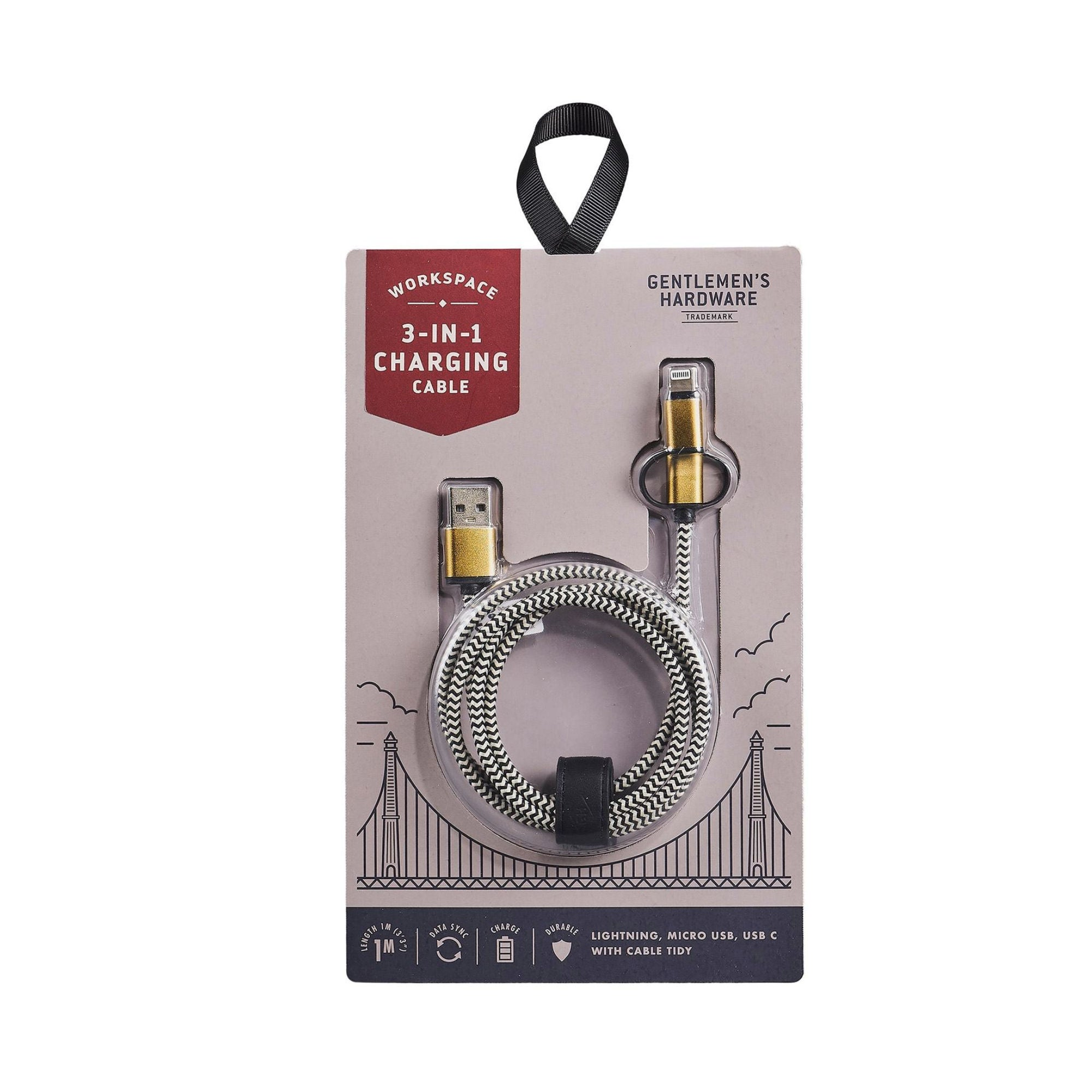 Gentlemen's Hardware 3-in-1 Charging Cable